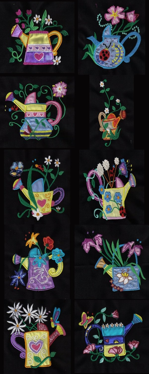 Applique Water Cans Embroidery Machine Design Details