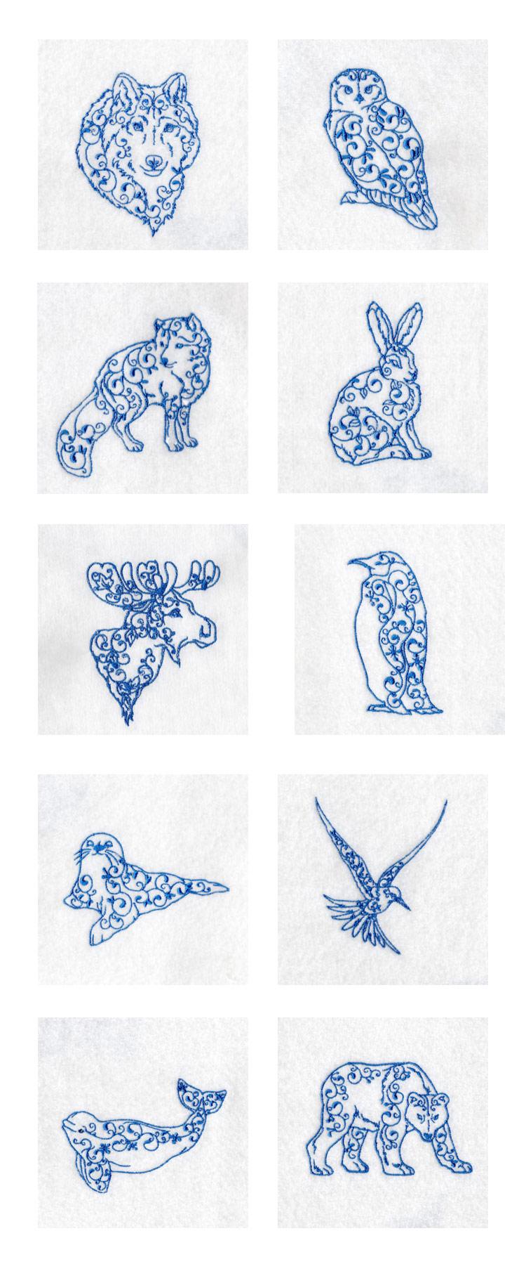 Embroidery machine designs arctic animals set