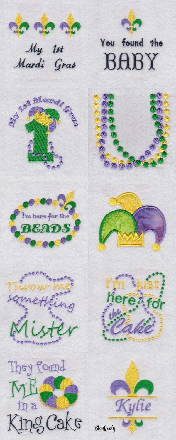 Baby Says Mardi Gras Embroidery Machine Design Details