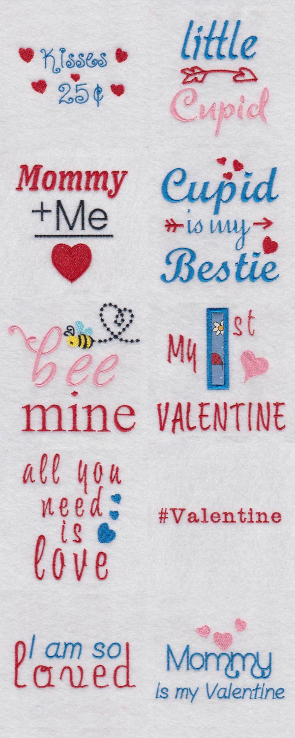Baby Says Valentine Embroidery Machine Design Details