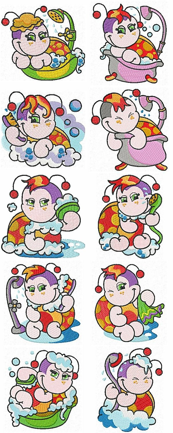 DD Bath Time Ladybugs Embroidery Machine Design Details