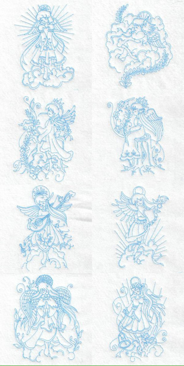 Beautiful Realistic Angels Embroidery Machine Design Details