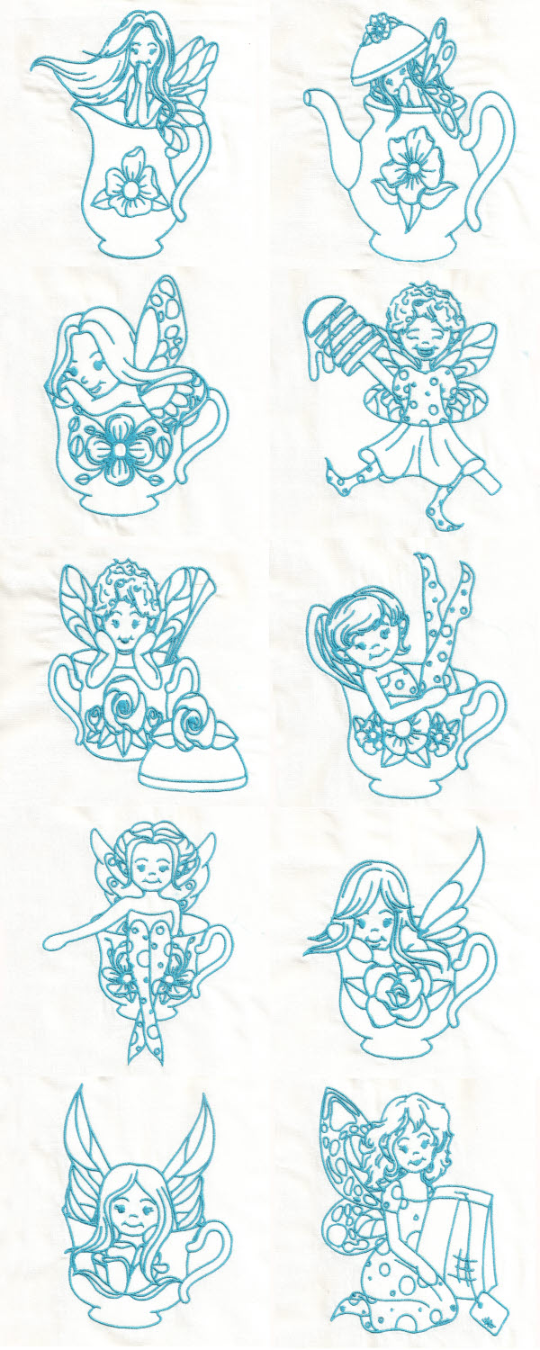 Embroidery machine designs bluework teaset fairies set