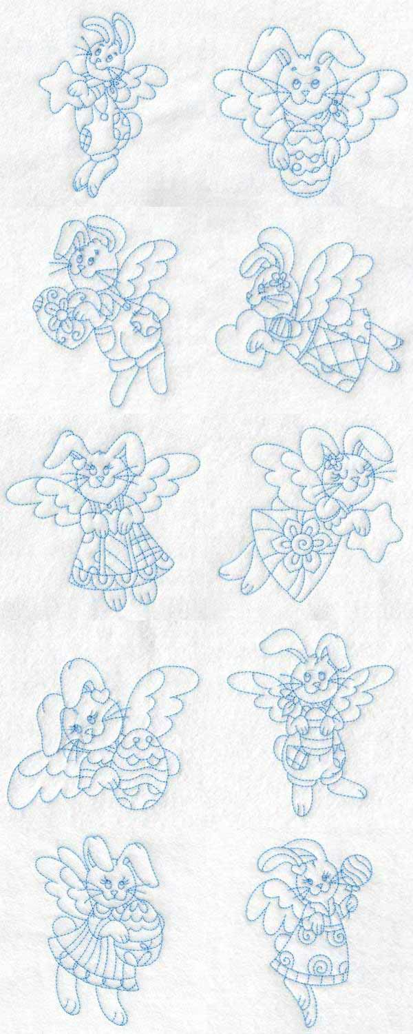 Bunny Angels Embroidery Machine Design Details