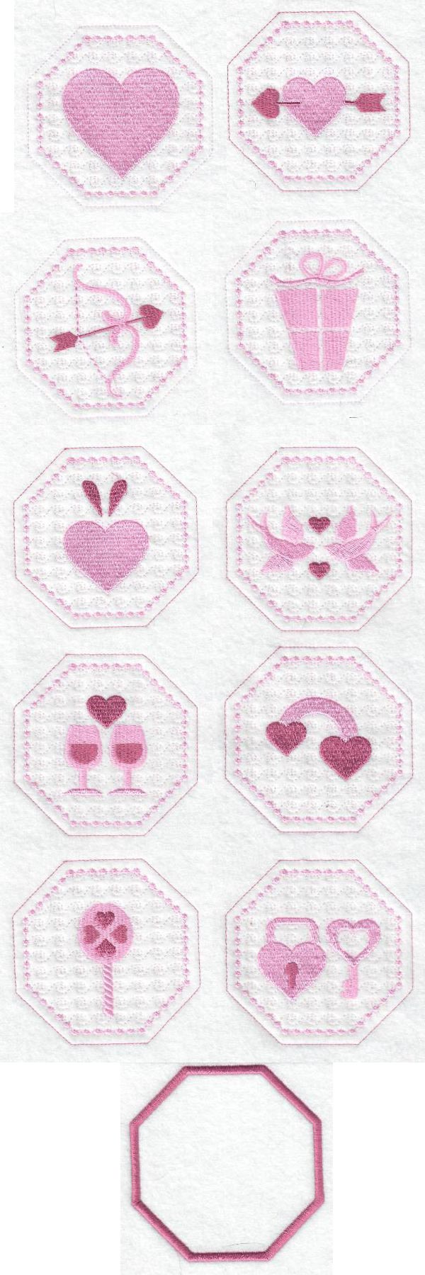 Candlewick Valentine Coasters Embroidery Machine Design Details