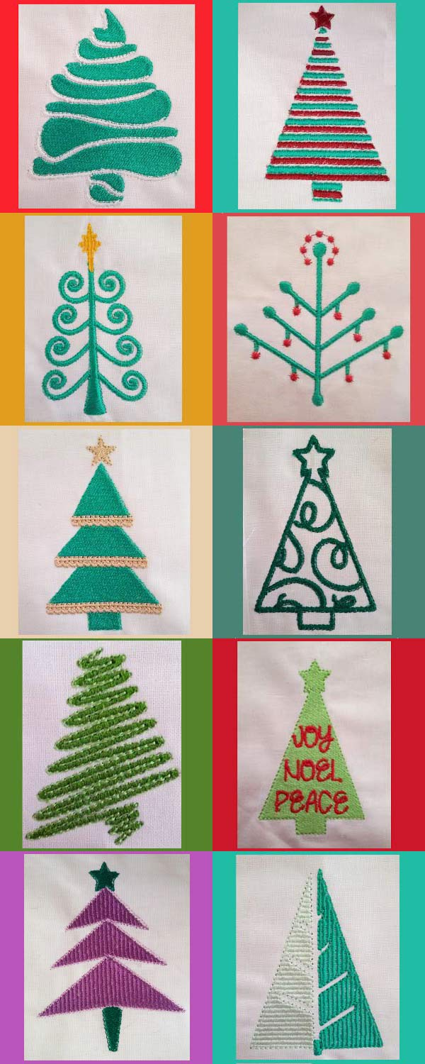 Christmas Trees Embroidery Machine Design Details