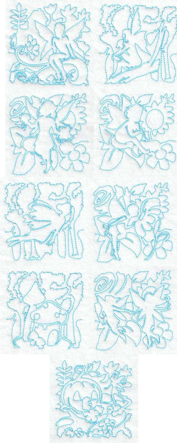 Continuous Line Fairy Blocks Embroidery Machine Design Details