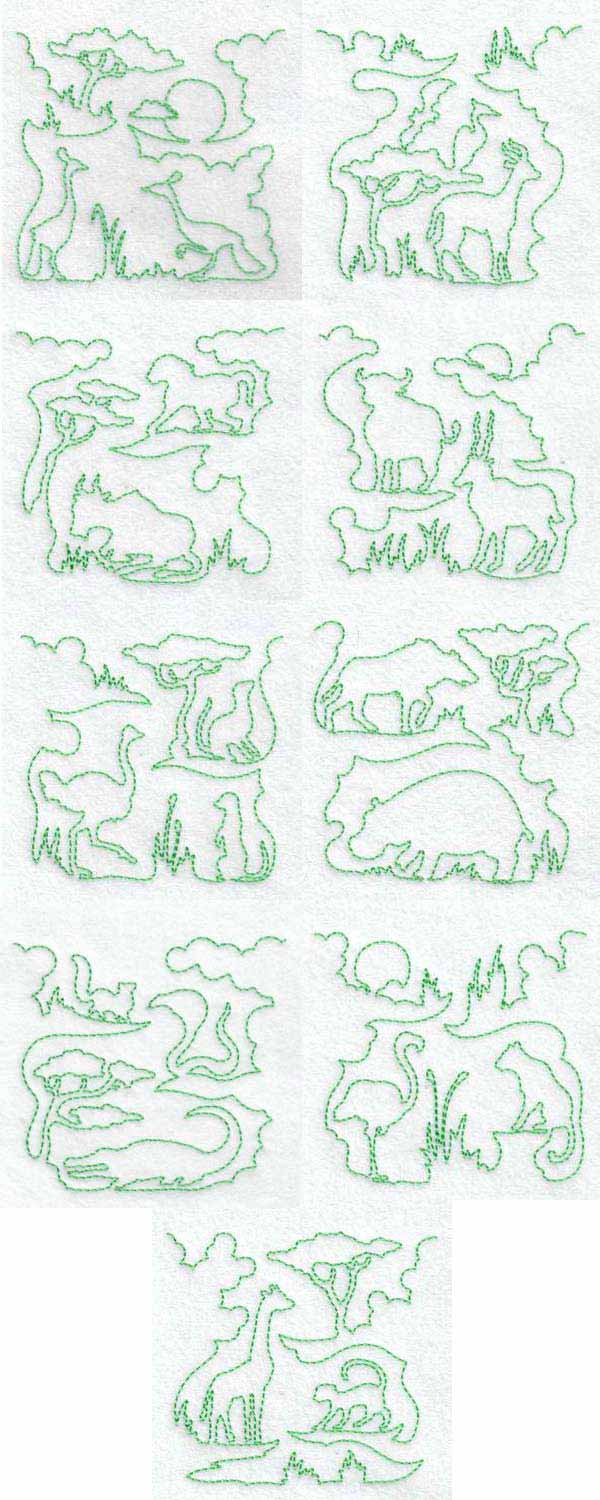 Continuous Line Savanna Blocks 2 Embroidery Machine Design Details