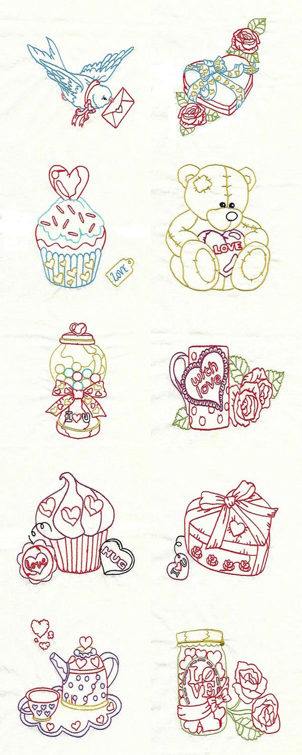 Colorline Valentine Embroidery Machine Design Details