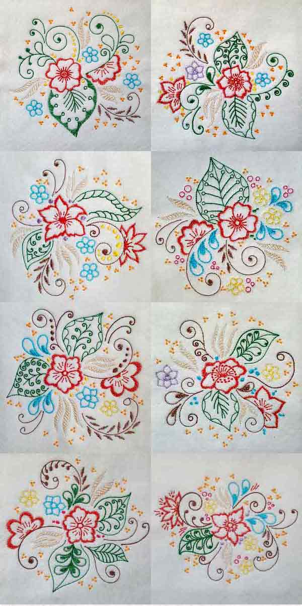 Colorful Flowers Embroidery Machine Design Details