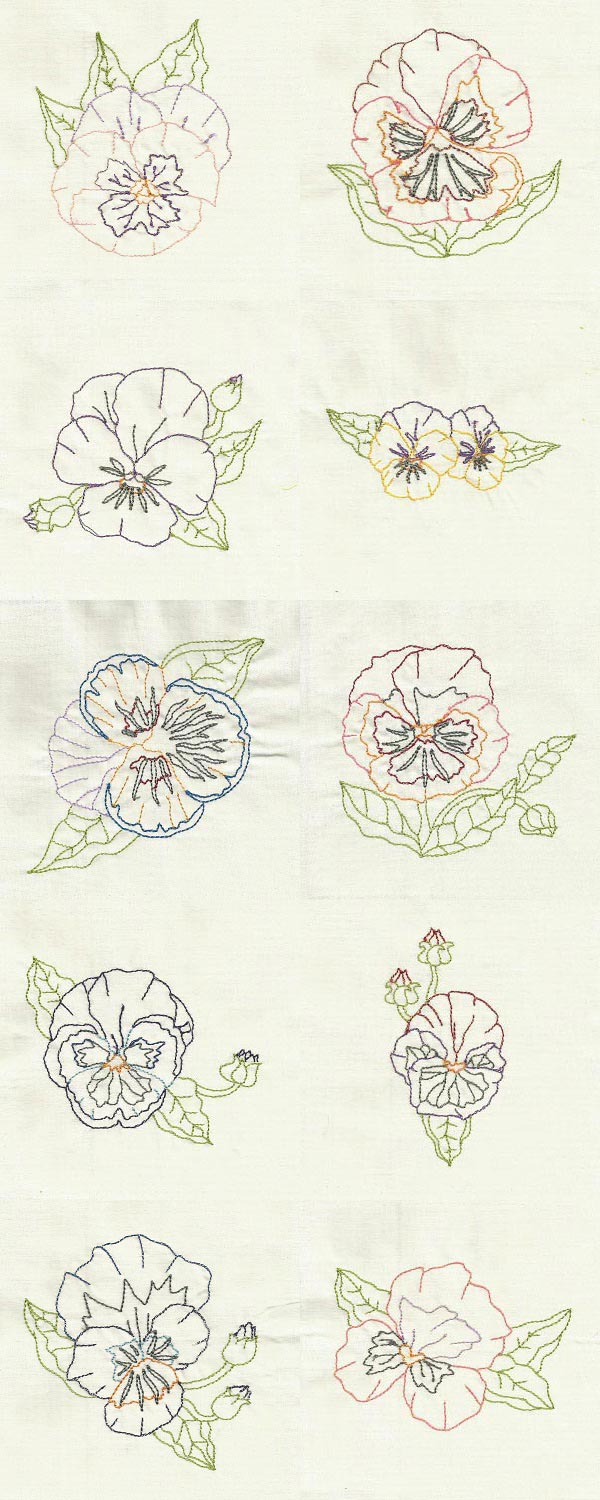 Colorline Pansies Embroidery Machine Design Details