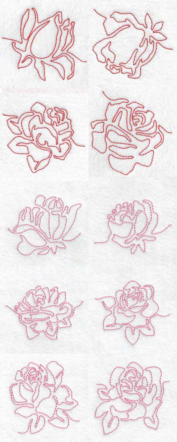 Continuous Line Roses Embroidery Machine Design Details