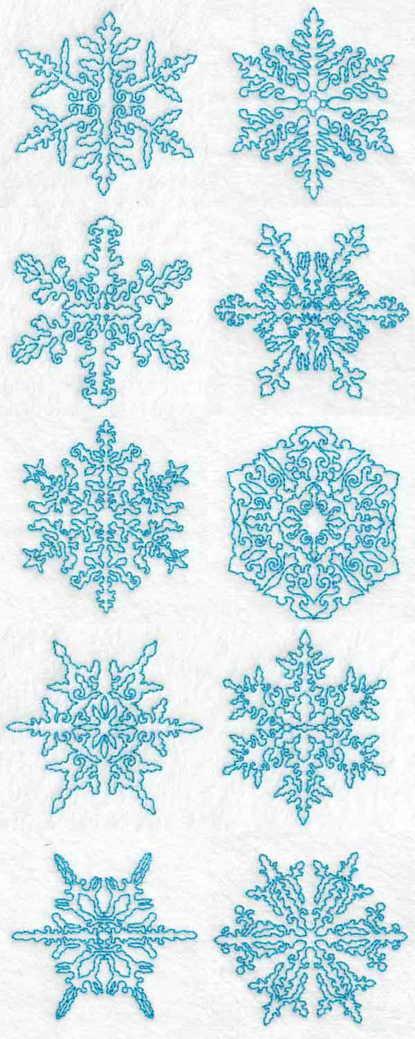 Continuous Line Snowflakes Embroidery Machine Design Details