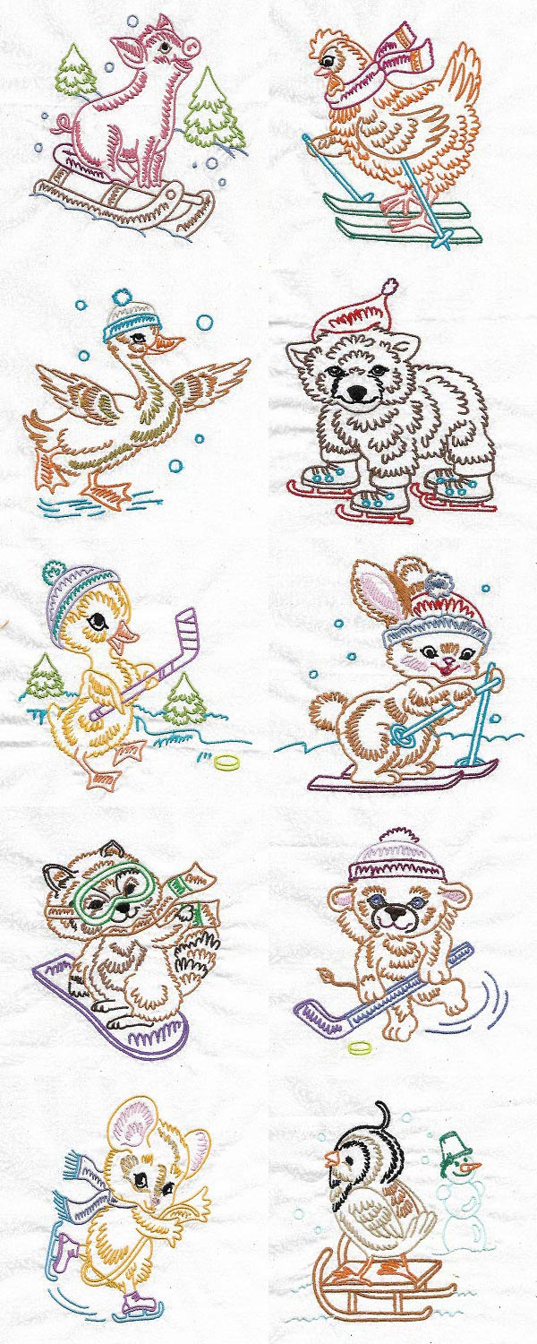 Cute Animals in Winter Embroidery Machine Design Details