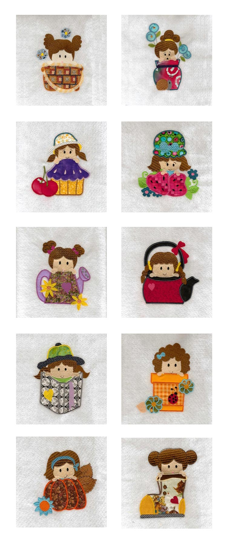 Embroidery machine designs cute funny girls set