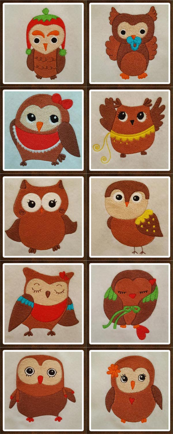 Cute Owls Embroidery Machine Design Details