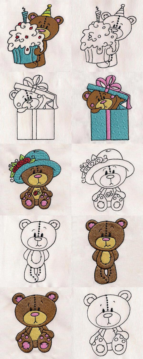 Cute Teddy Embroidery Machine Design Details