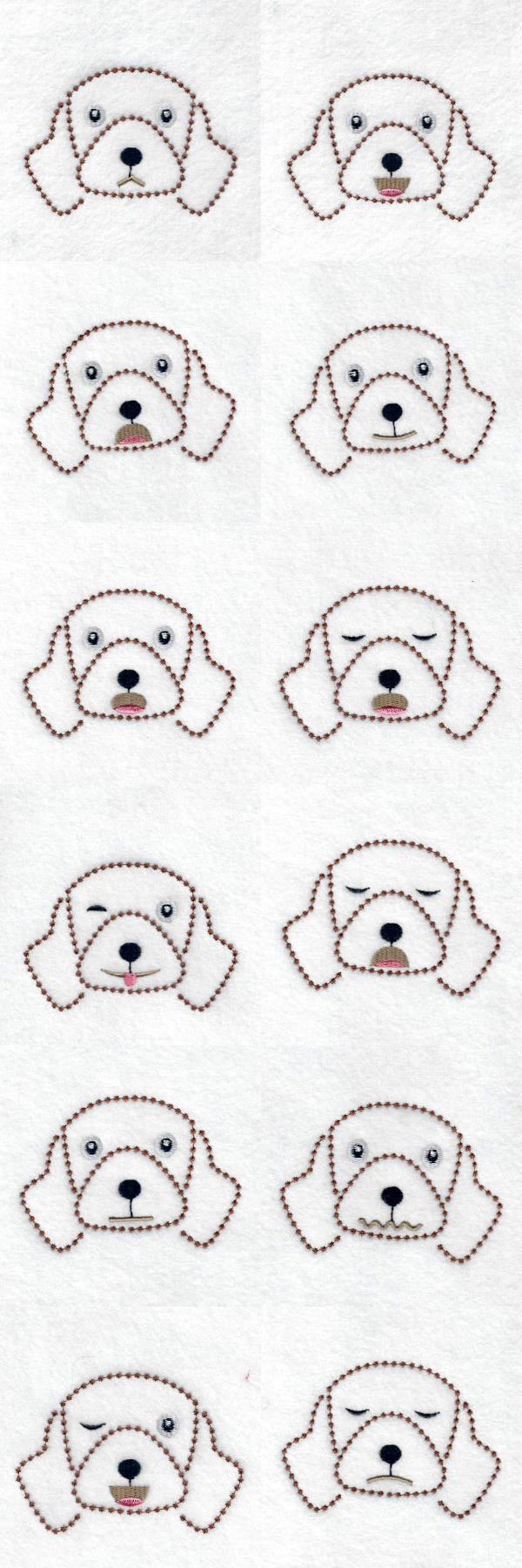 Candlewick Dog Expressions Embroidery Machine Design Details