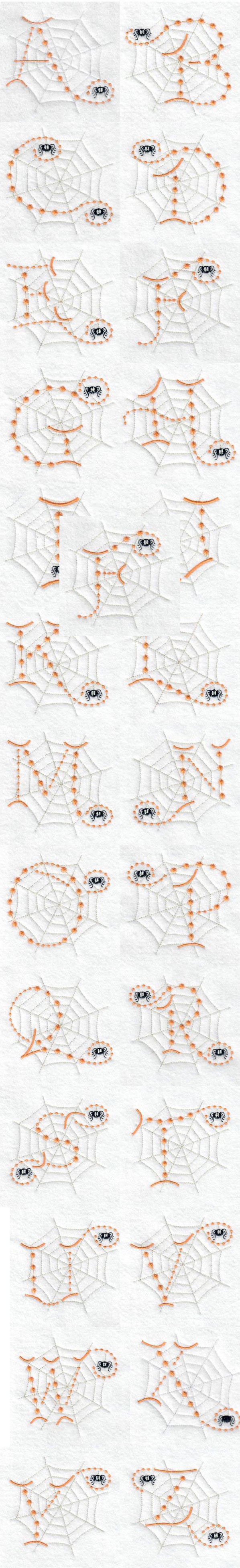 Cute Candlewick Spider Alphabet Embroidery Machine Design Details