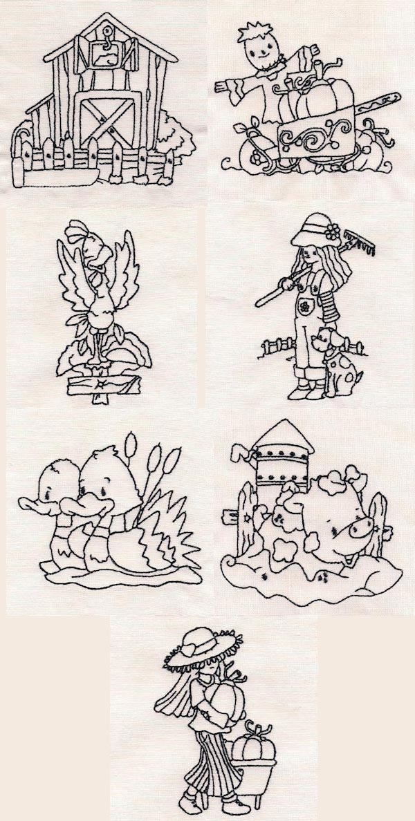 Down on the Farm Redwork Embroidery Machine Design Details