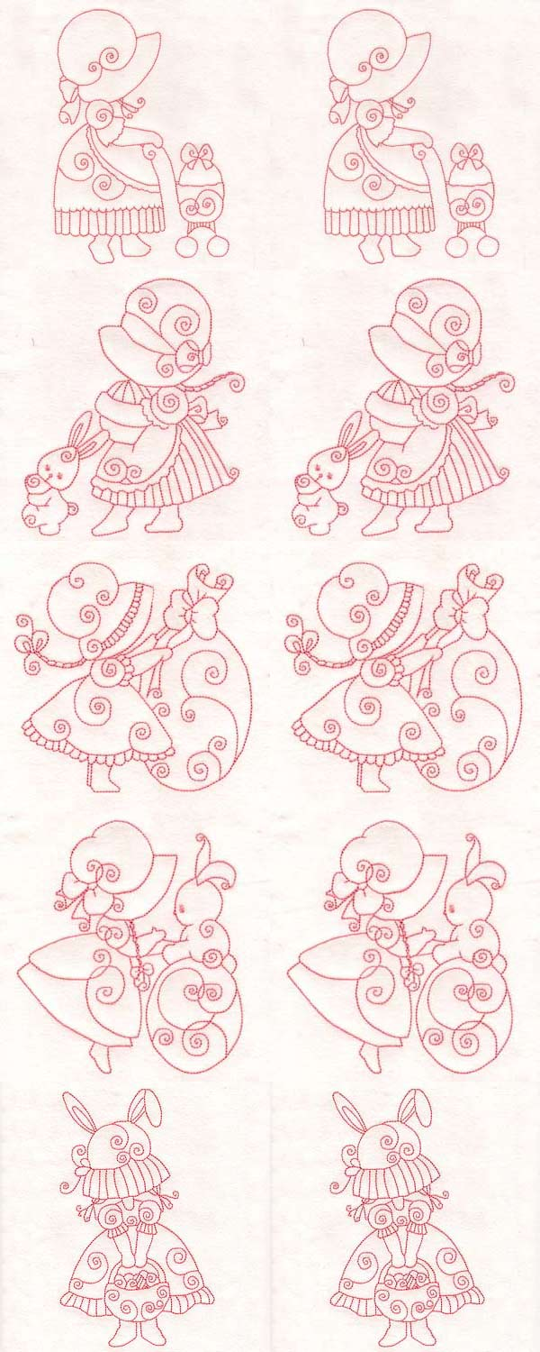 Easter Swirly Sunbonnets Embroidery Machine Design Details
