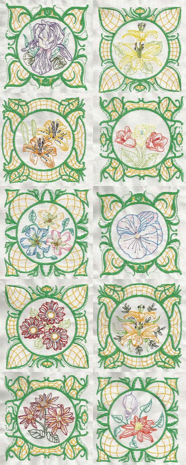 Elegant Flower Blocks Embroidery Machine Design Details