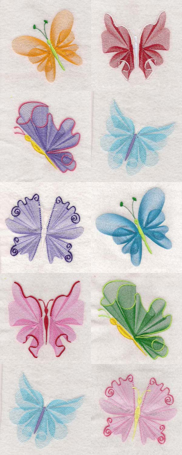 Elegant Lacy Butterflies Embroidery Machine Design Details