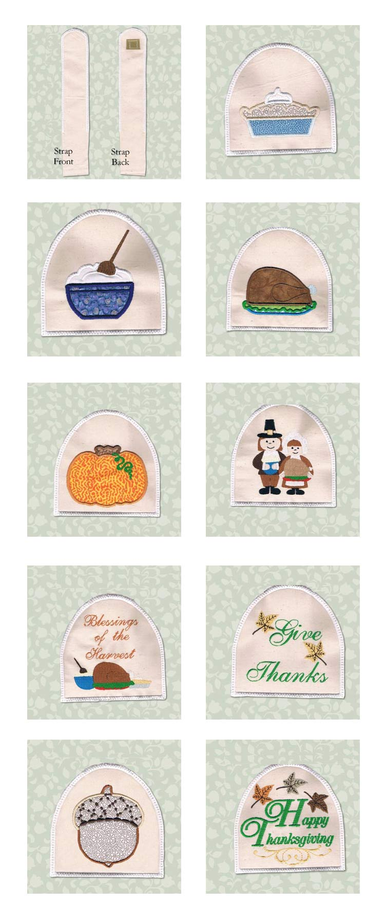 Fall Country Towel Toppers Embroidery Machine Design Details