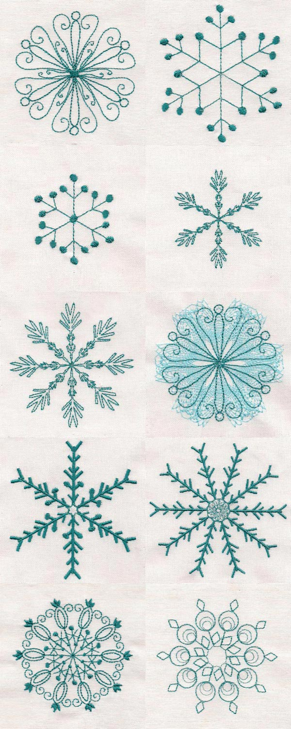 Falling Snowflakes Embroidery Machine Design Details