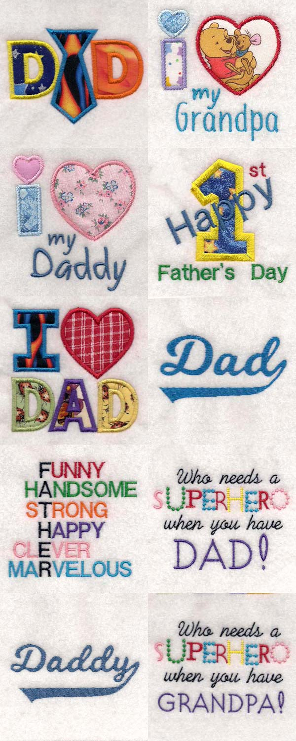 Fathers Day 2018 Embroidery Machine Design Details