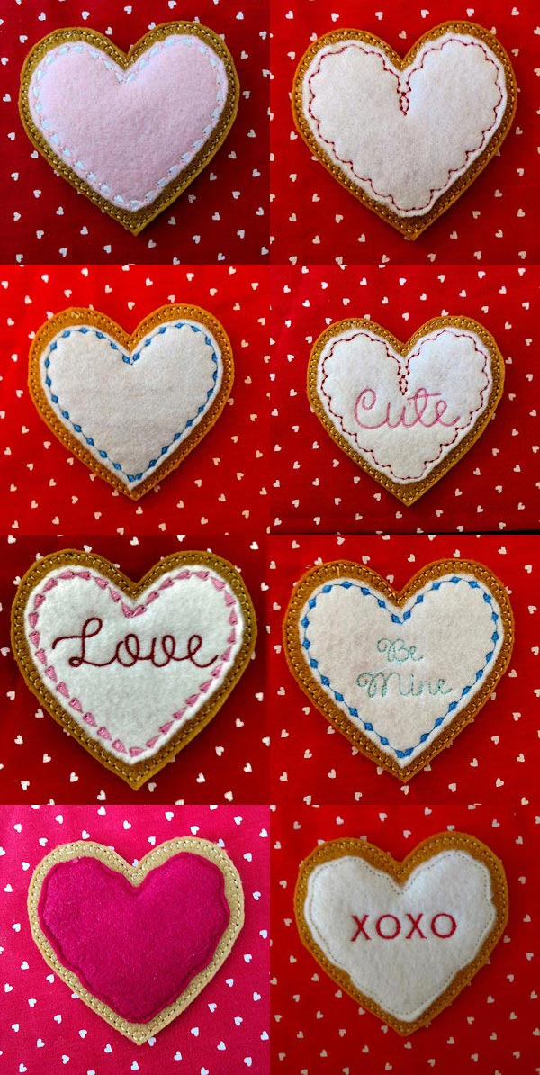 Felt Foodies Valentines Embroidery Machine Design Details