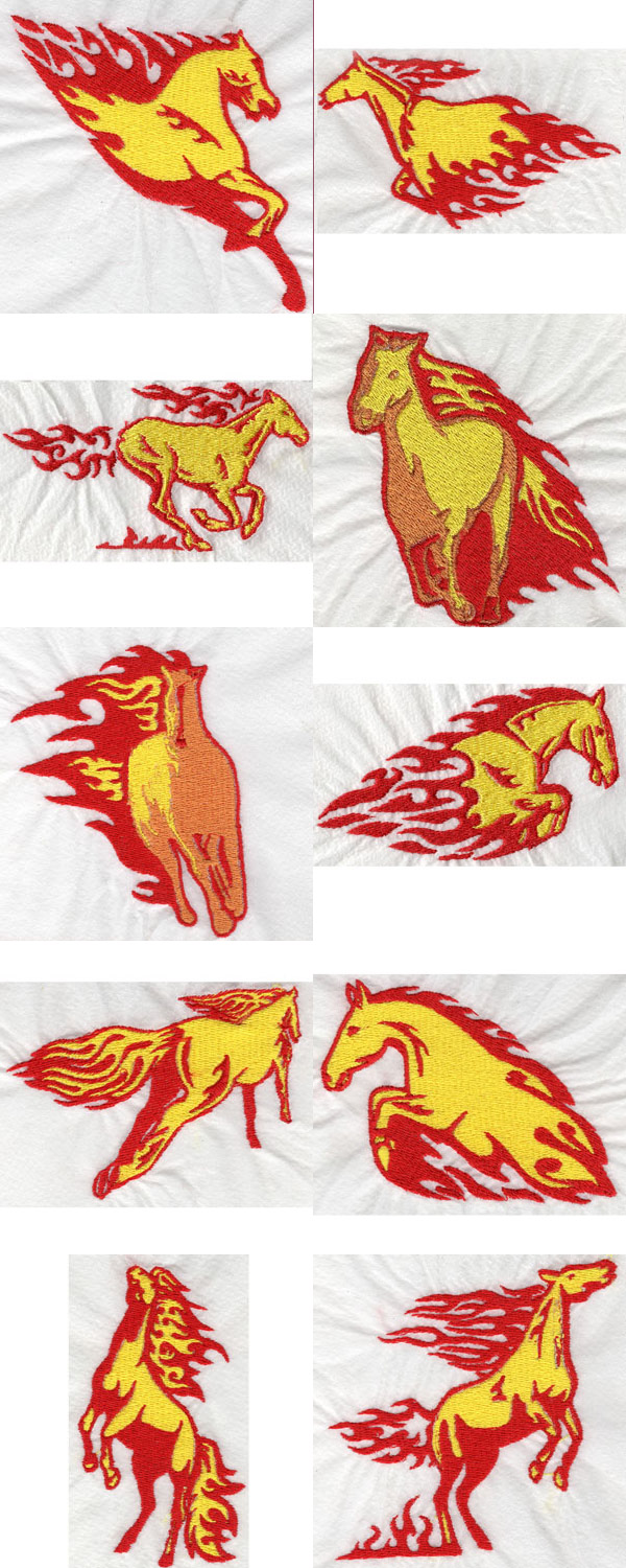 Flaming Horses Embroidery Machine Design Details