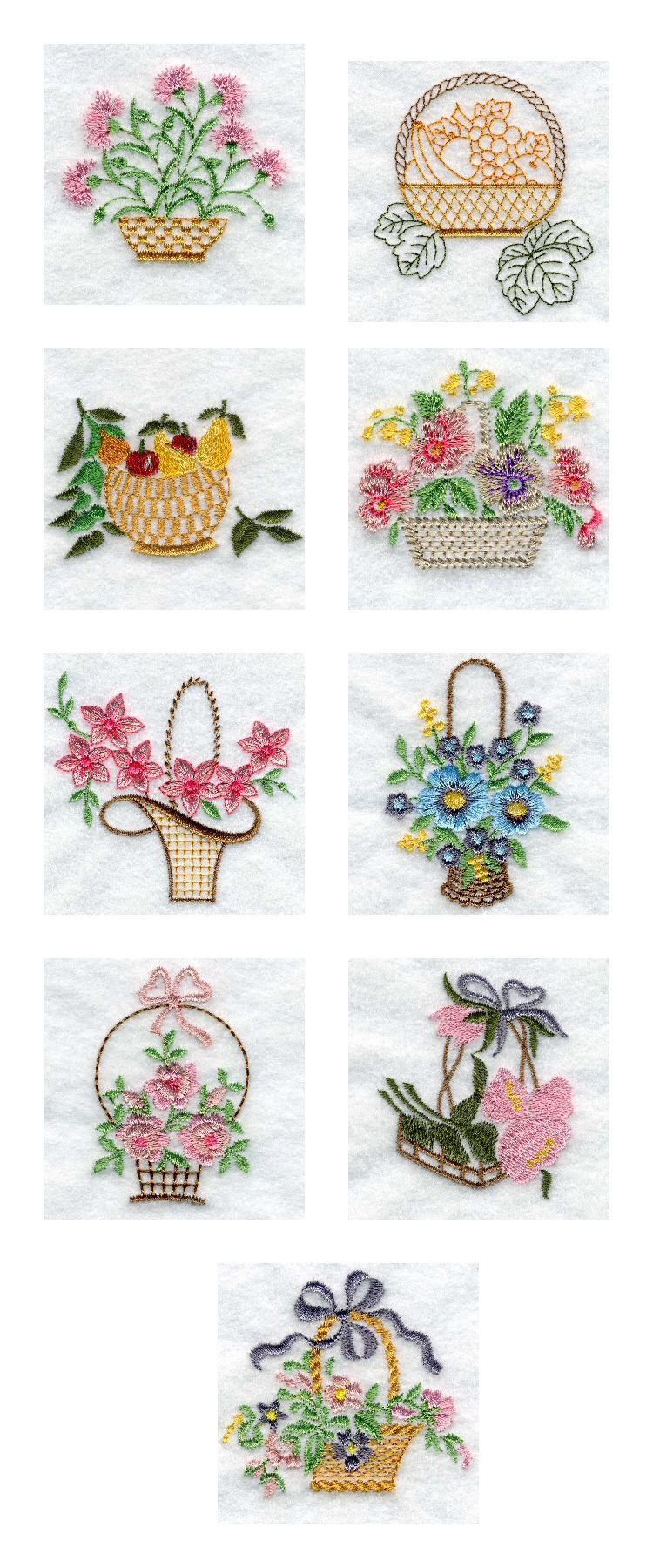 Embroidery machine designs floral baskets set