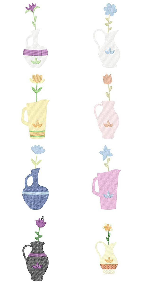 Flower Sketch Vases Embroidery Machine Design Details
