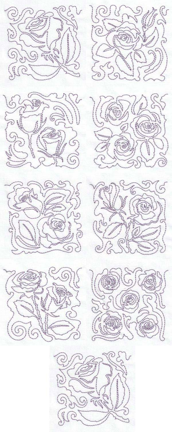 Free Motion Rose Blocks Embroidery Machine Design Details