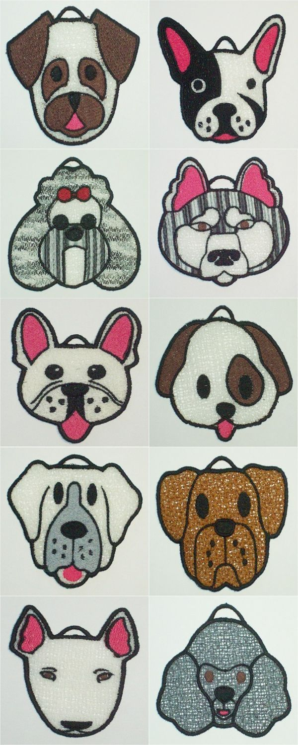 FSL Dog Ornaments 2 Embroidery Machine Design Details