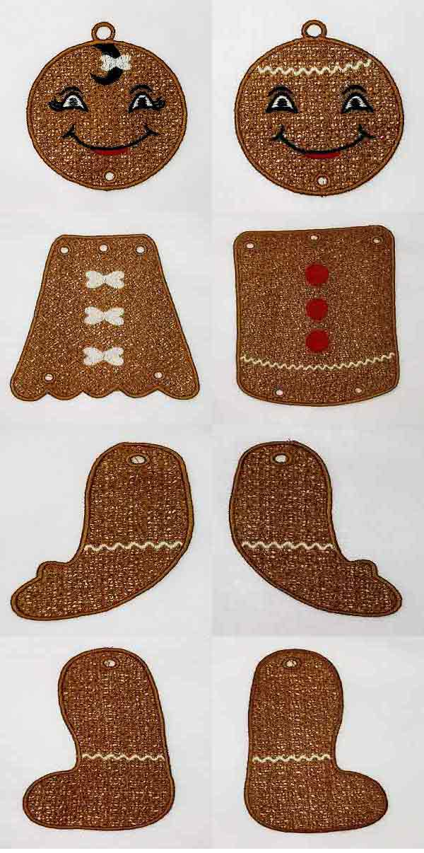 FSL Posable Gingerbread Danglers Embroidery Machine Design Details