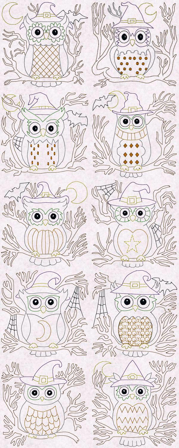 Halloween Owls Blocks Colorline Embroidery Machine Design Details