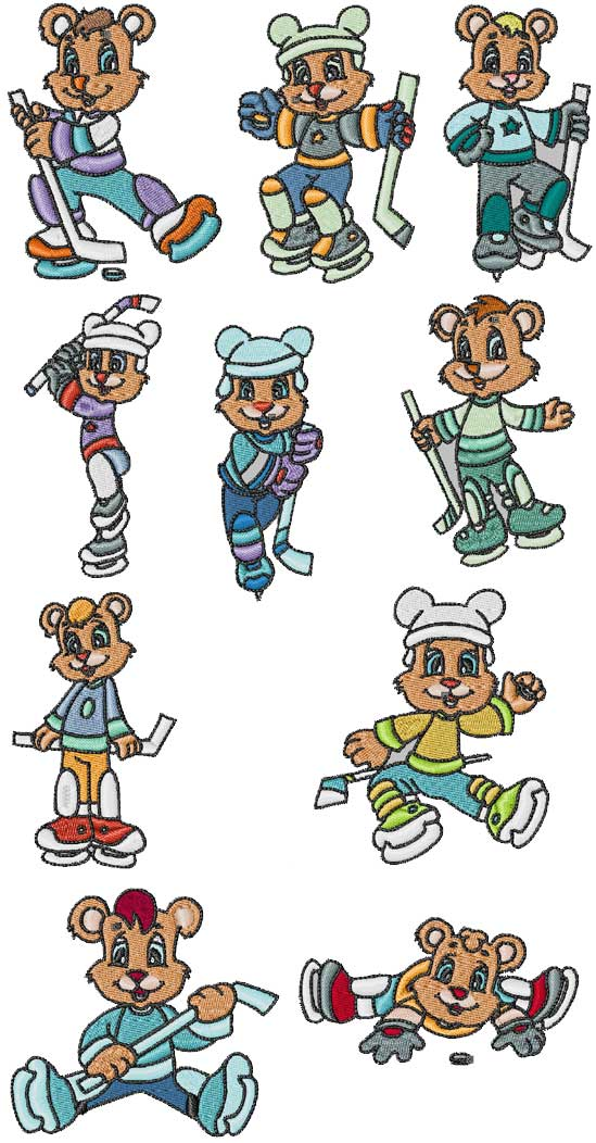 Hockey Bears Embroidery Machine Design Details