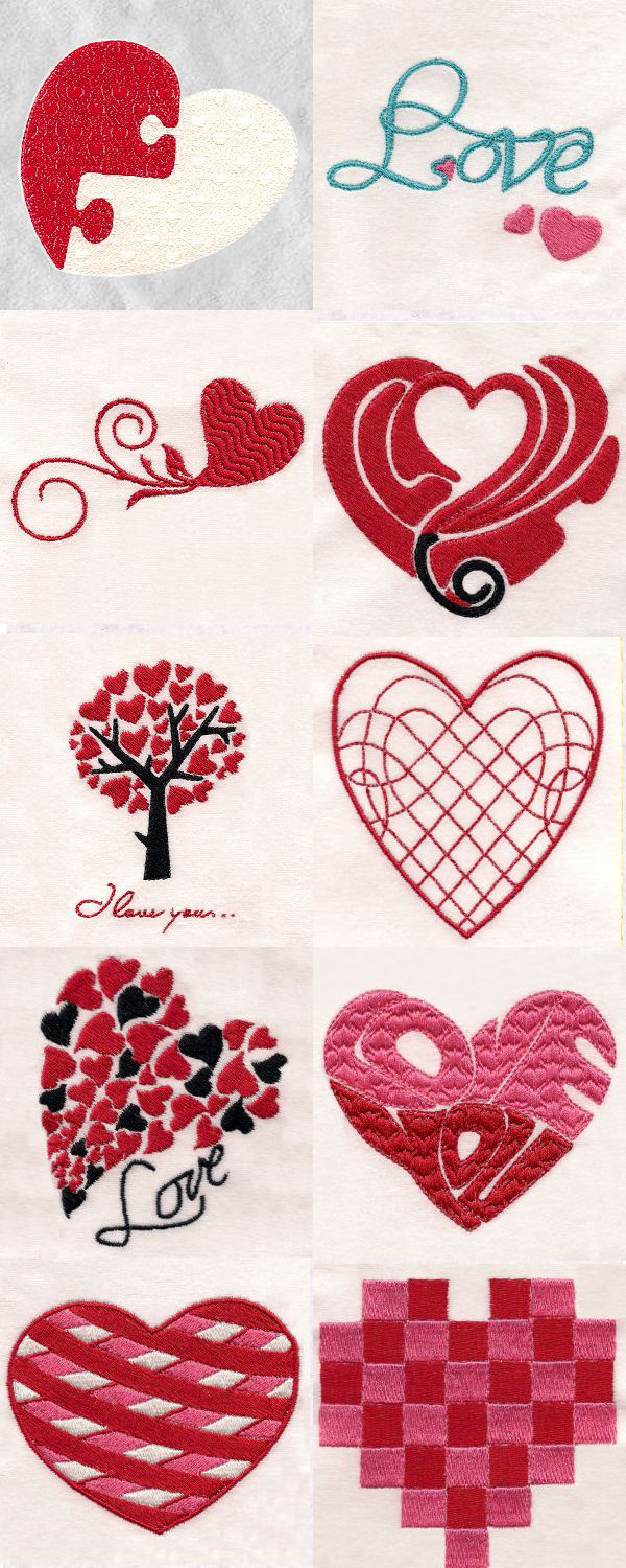 I Heart You Embroidery Machine Design Details