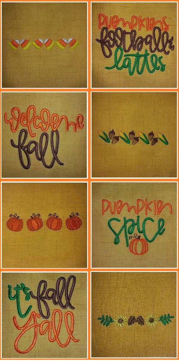It Is Fall Embroidery Machine Design Details
