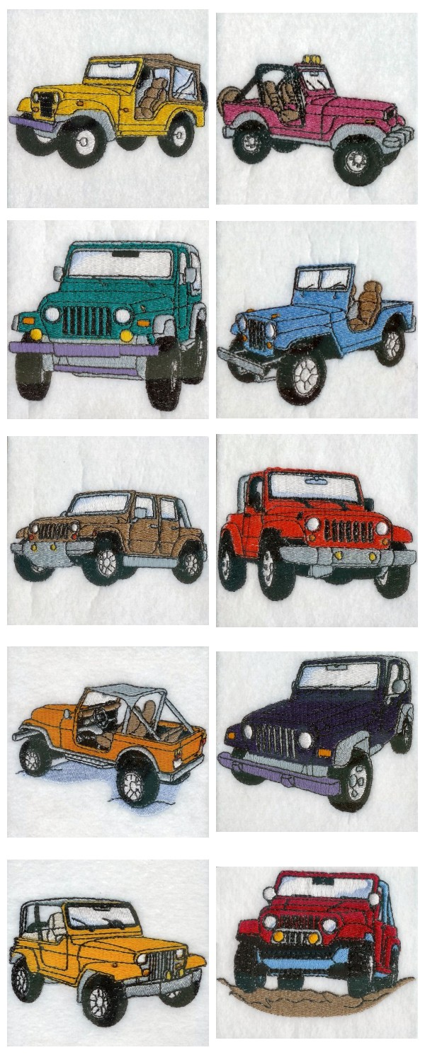 Jeeps Embroidery Machine Design Details