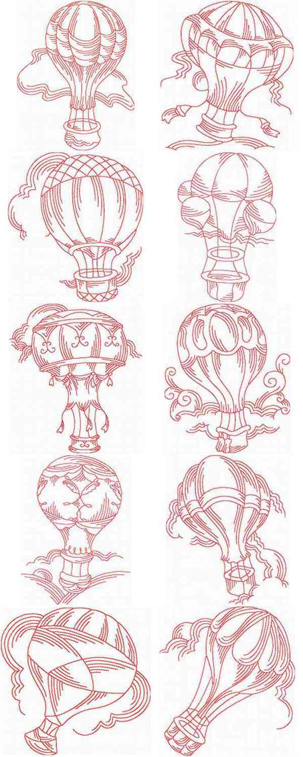 JN Hot Air Balloons Embroidery Machine Design Details