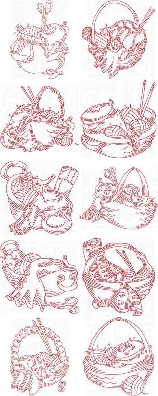 Embroidery Machine Designs - JN Sewing Baskets Set