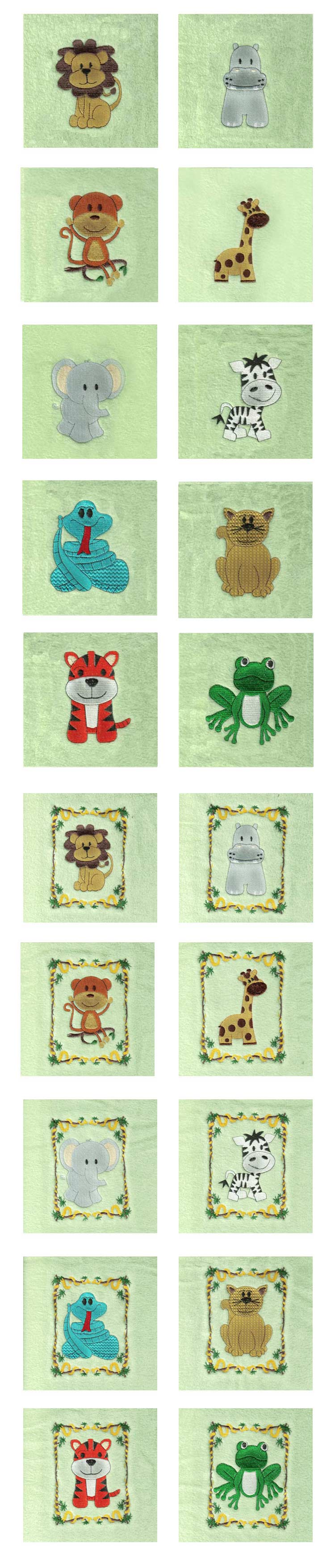 Jungle Quilt Blocks Embroidery Machine Design Details