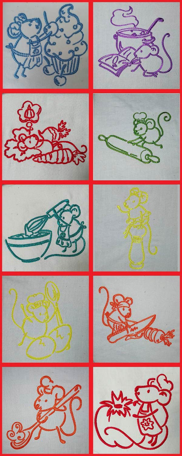Kitchen Mouse Embroidery Machine Design Details