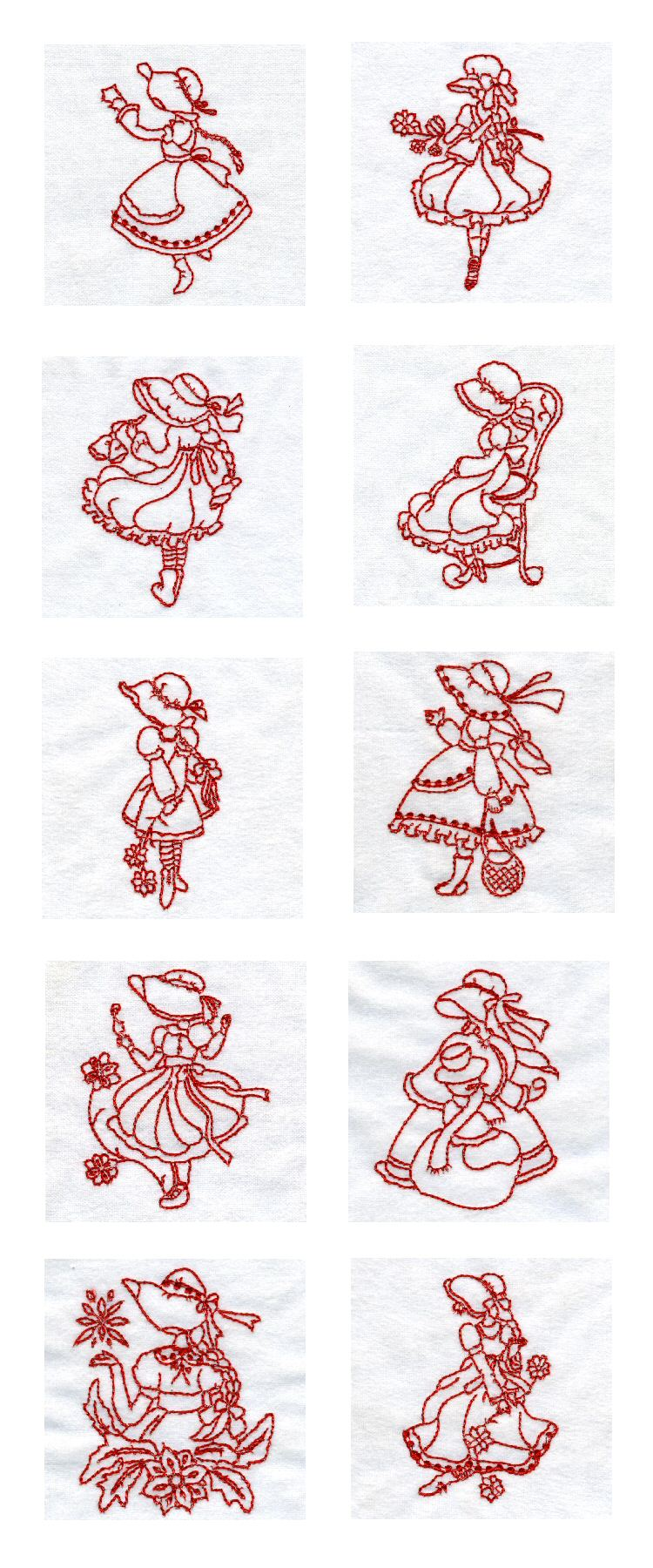 Embroidery machine designs line art lovely sunbonnets set