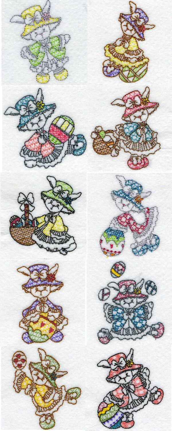 Embroidery machine designs line art easter bunnies set