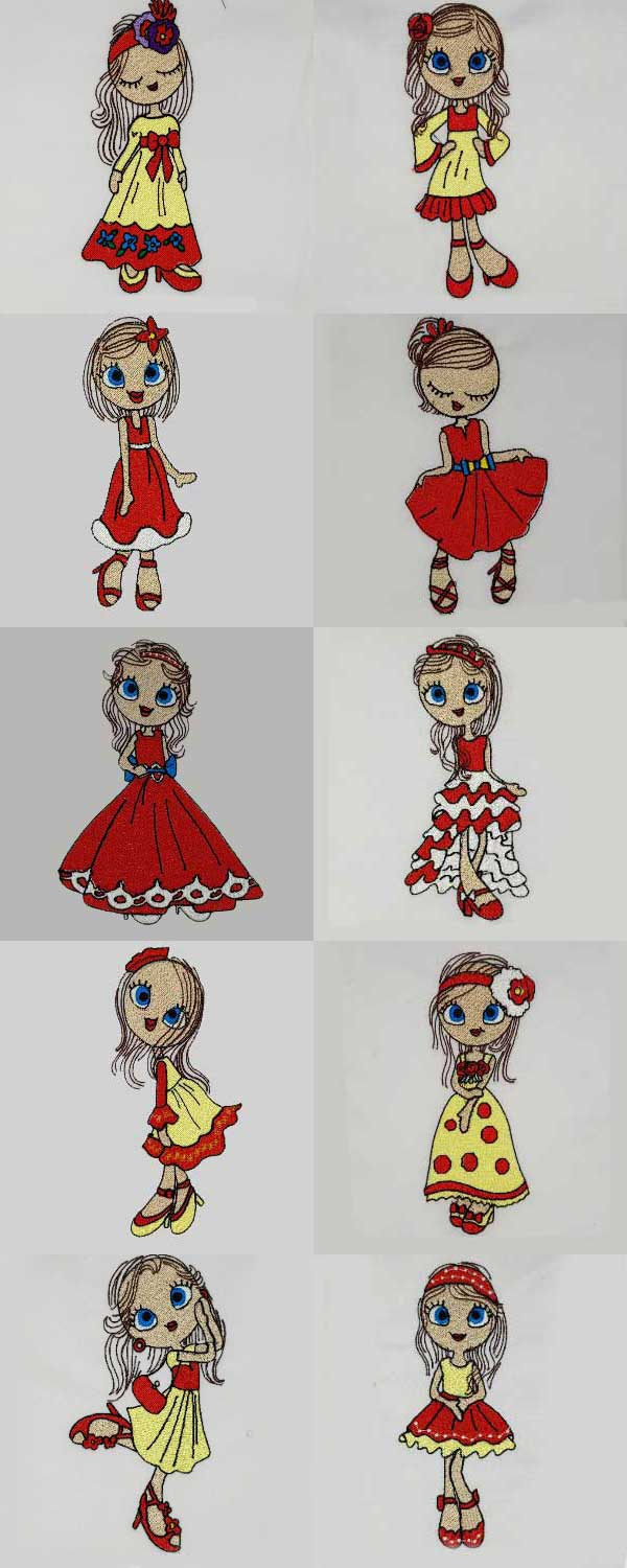 Lovely Swirly Fashion Girl Embroidery Machine Design Details