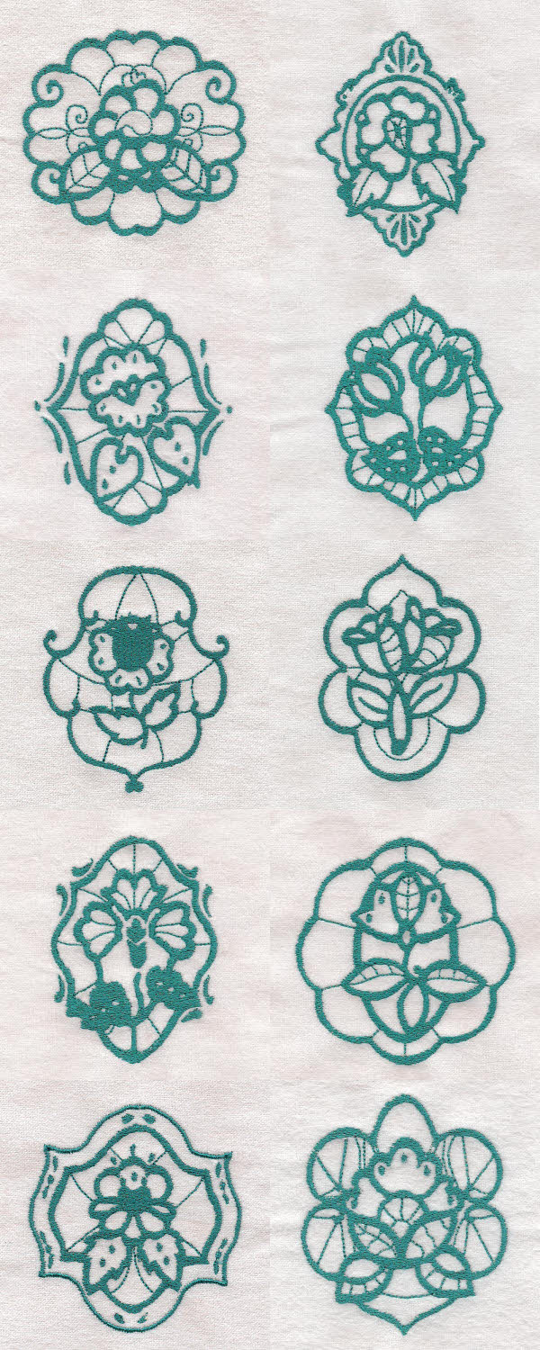 Ornamental Flowers Embroidery Machine Design Details